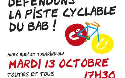 Mardi 13 octobre à 17h30 : Rassemblement pour une piste cyclable sécurisée sur le boulevard du BAB
